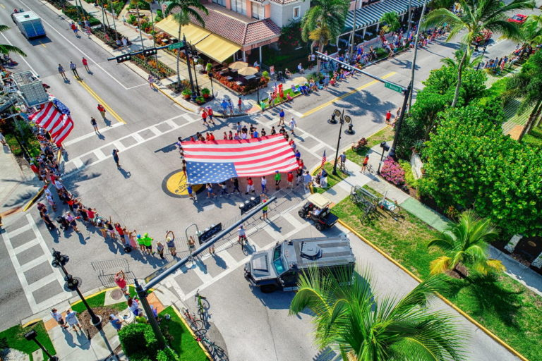 Naples Fourth of July Parade Aerial Photograph