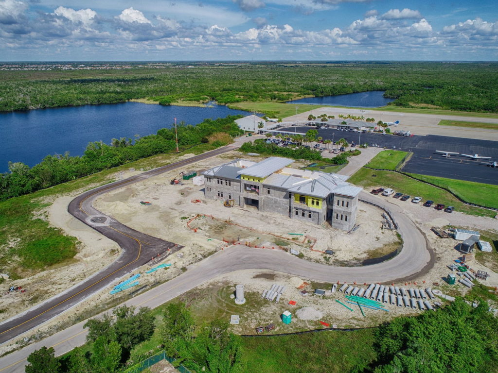 Progress photography of the Marco Island Airport. The Building construction is almost complete.
