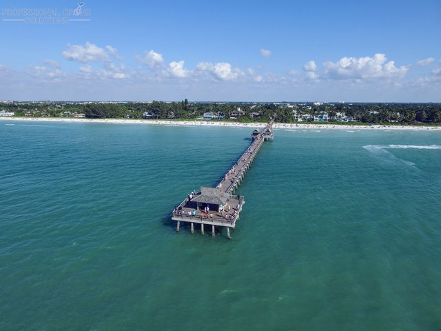 drone photo of the naples pier
