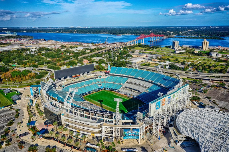 Aerial and drone Photography of the Jacksonville Jaguars Stadium in Jacksonville Florida