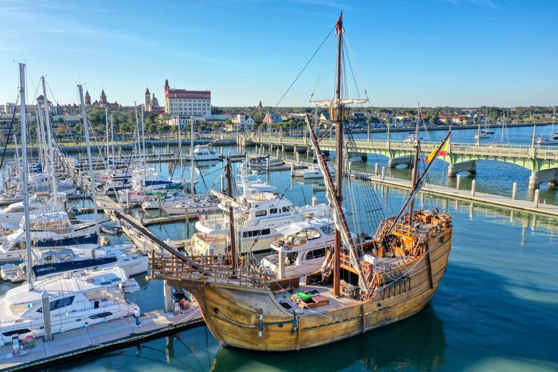 Drone photo of a old time ship moored in St Augustine Florida